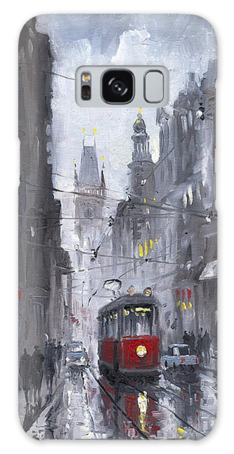 Oil On Canvas Galaxy S8 Case featuring the painting Prague Old Tram 03 by Yuriy Shevchuk