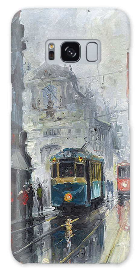 Oil On Canvas Galaxy S8 Case featuring the painting Prague Old Tram 04 by Yuriy Shevchuk