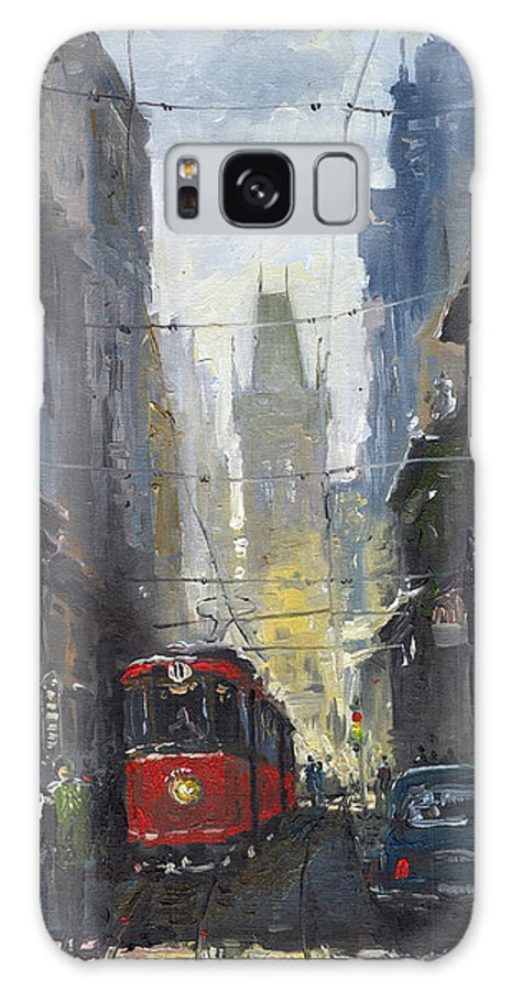 Oil On Canvas Paintings Galaxy S8 Case featuring the painting Prague Old Tram 05 by Yuriy Shevchuk