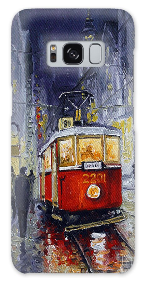 Oil Galaxy Case featuring the painting Prague Old Tram 06 by Yuriy Shevchuk