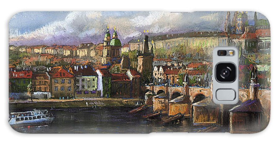 Pastel Galaxy Case featuring the painting Prague Panorama Charles Bridge Prague Castle by Yuriy Shevchuk