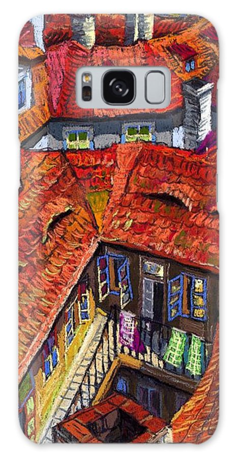 Pastel Galaxy Case featuring the painting Prague Roofs 01 by Yuriy Shevchuk