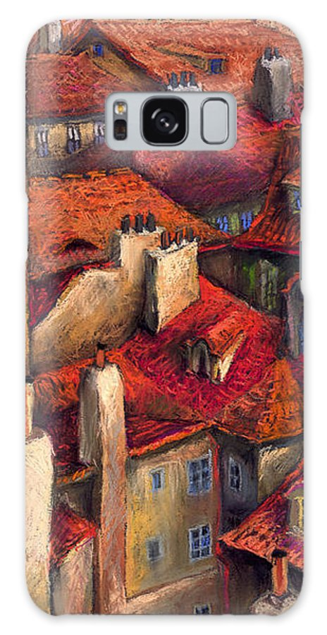 Prague Galaxy S8 Case featuring the painting Prague Roofs by Yuriy Shevchuk