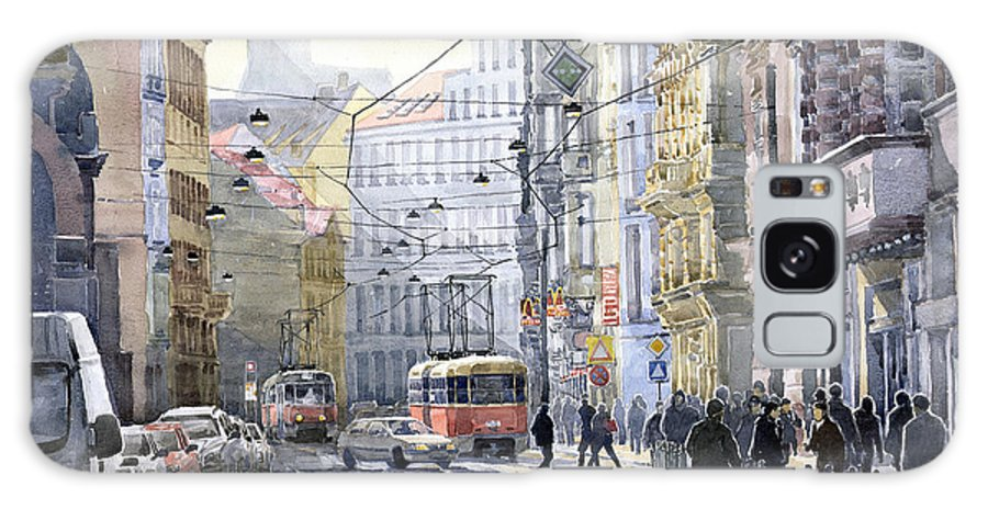 Watercolor Galaxy S8 Case featuring the painting Prague Vodickova Str by Yuriy Shevchuk