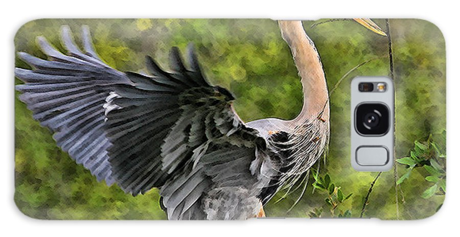 Blue Heron Bird Wildlife Dancing Florida Shore Photography Digital Art Photograph Galaxy S8 Case featuring the photograph Prancing Heron by Shari Jardina