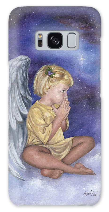 Christmas Galaxy S8 Case featuring the painting Praying Angel by Anne Kushnick