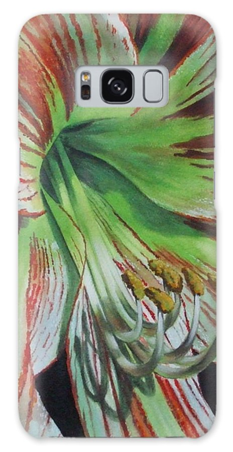 Amaryllis Galaxy Case featuring the painting Precious by Barbara Keith