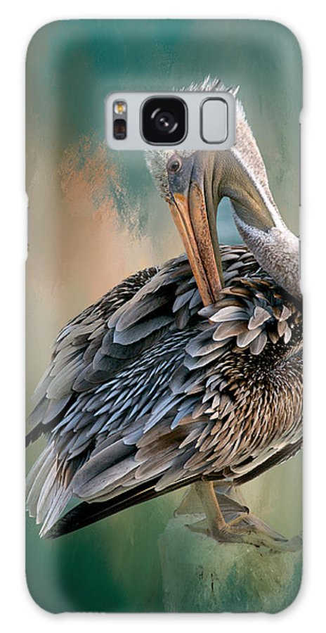 Nature Galaxy Case featuring the photograph Preening Session, California Brown Pelican by Zayne Diamond Photographic