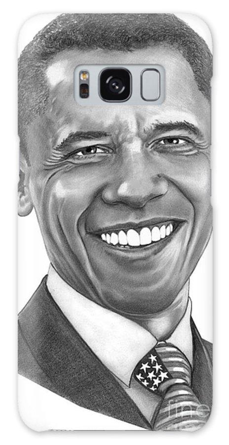 Drawing Galaxy S8 Case featuring the drawing President Barack Obama By Murphy Art. Elliott by Murphy Elliott