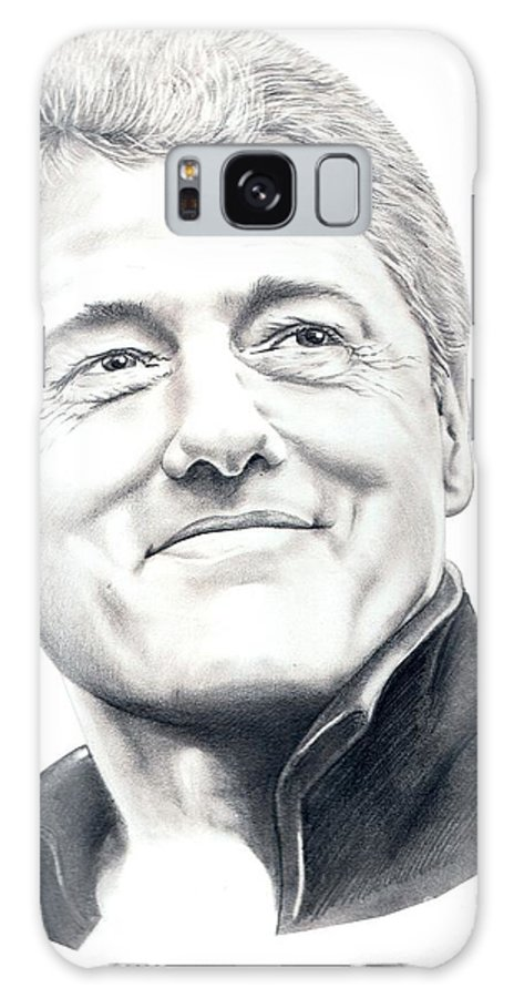 President Bill Clinton Galaxy S8 Case featuring the drawing President Bill Clinton by Murphy Elliott