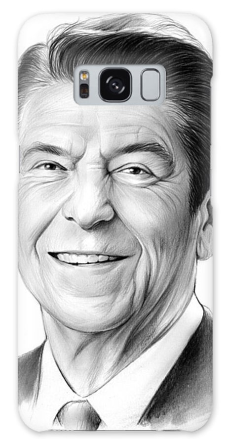 President Galaxy S8 Case featuring the drawing President Ronald Reagan by Greg Joens
