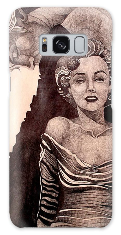 Marilyn Monroe Galaxy S8 Case featuring the drawing Pretty Hate Machine by Nelson F Martinez