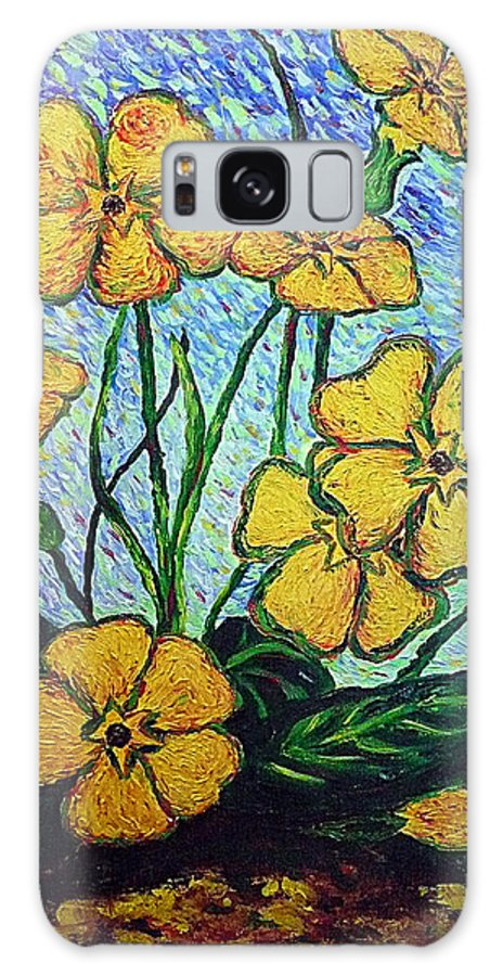 Flowers Galaxy S8 Case featuring the painting Primula Veris by Ericka Herazo