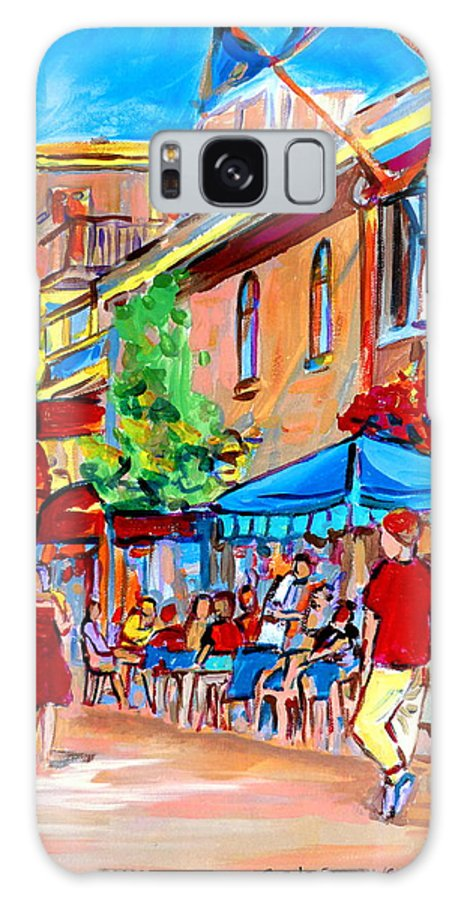 Cafes Galaxy Case featuring the painting Prince Arthur Street Summer by Carole Spandau