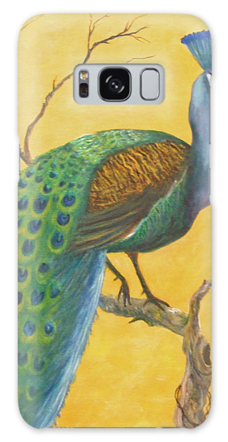 Peacock; Birds; Fall Leaves Galaxy Case featuring the painting Proud as a Peacock by Ben Kiger