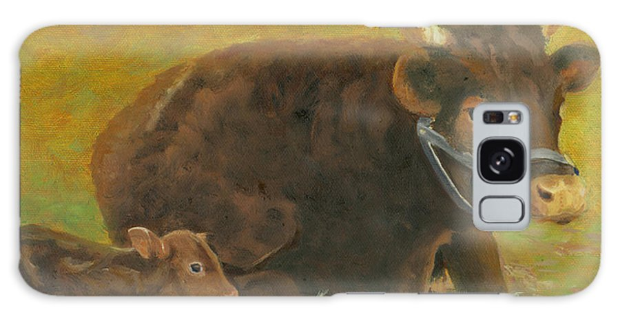 Cow Calf Bull Farmscene Galaxy Case featuring the painting Proud Pappa by Paula Emery
