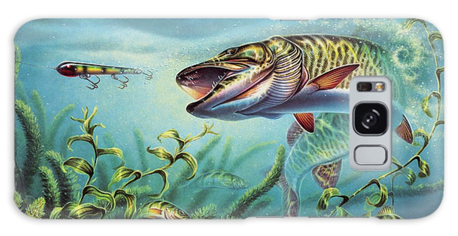 Muskie Galaxy Case featuring the painting Provoked Musky by JQ Licensing