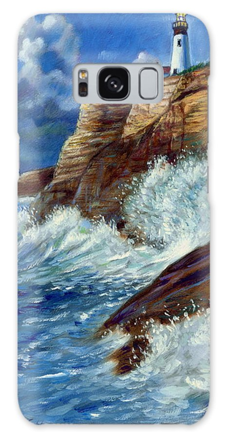 Lighthouse Galaxy S8 Case featuring the painting Psalm Forty Three-three by John Lautermilch