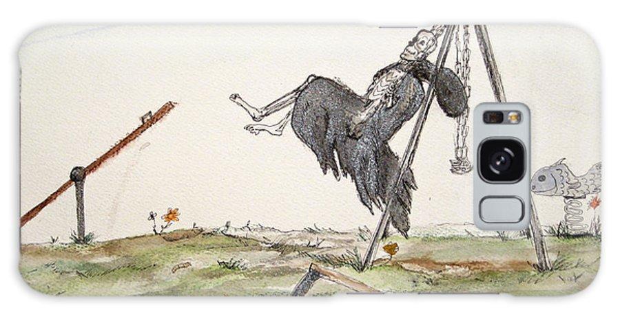 Darkestartist Death Humor Ink Playground Swing Watercolor Watercolour Darkest Artist Pump Harder Seesaw Galaxy Case featuring the painting Pump Harder Youll Get There by Darkest Artist