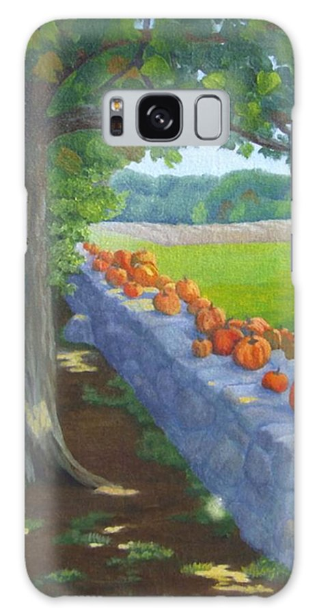 Pumpkins Galaxy S8 Case featuring the painting Pumpkin Muster by Sharon E Allen