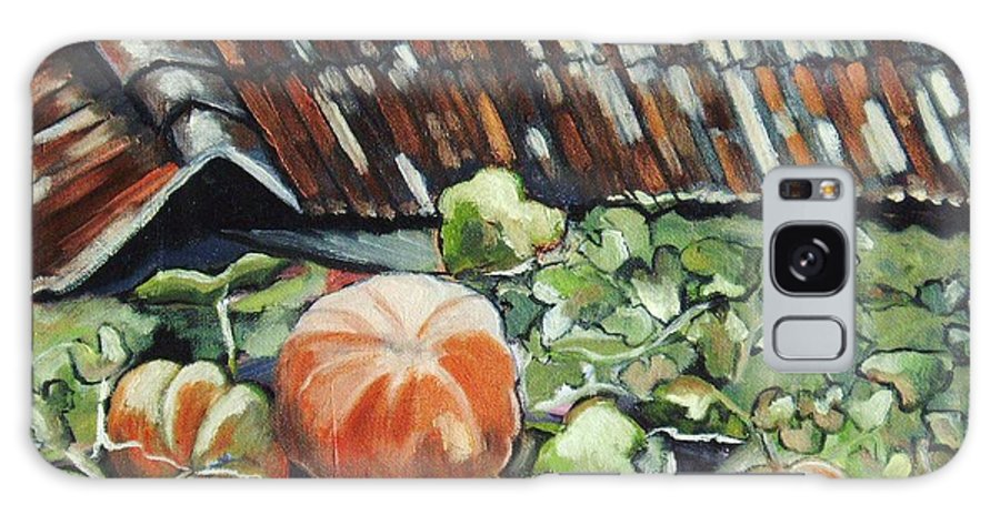 Pumpkin Paintings Galaxy Case featuring the painting Pumpkins On Roof by Seon-Jeong Kim