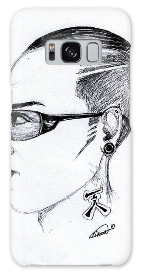 Portrait Galaxy S8 Case featuring the drawing Punk Imaginative Portrait Drawing by Alban Dizdari