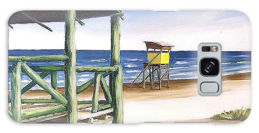 Seascape Beach Landscape Water Ocean Galaxy S8 Case featuring the painting Punta Del Diablo S Morning by Natalia Tejera
