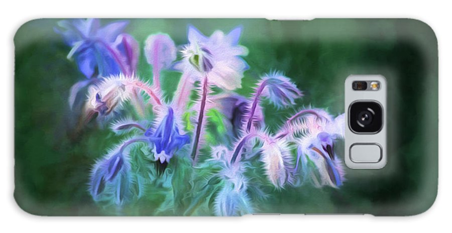 Digital Painting Galaxy S8 Case featuring the painting Purple Borage by Bonnie Bruno