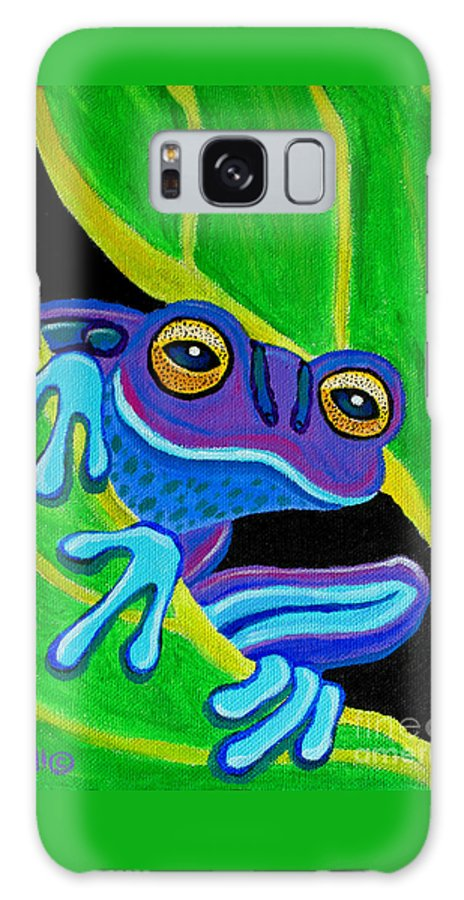 Frog Art Galaxy S8 Case featuring the painting Purple Frog Peeking Through by Nick Gustafson