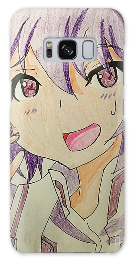 Anime Character Galaxy S8 Case featuring the drawing Purple Hair by Kate Lee