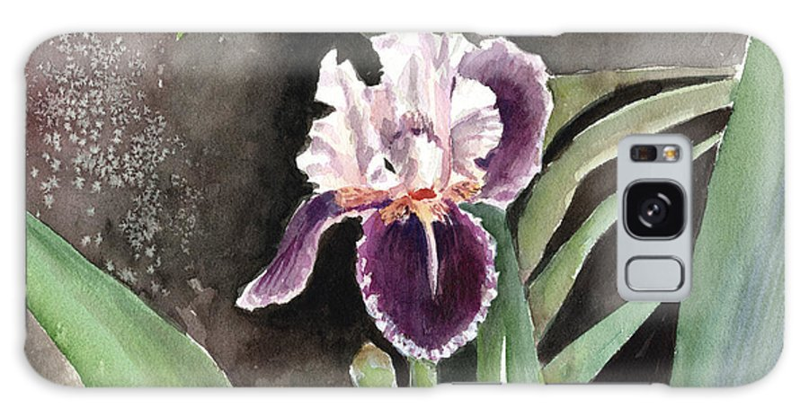 Flower Galaxy S8 Case featuring the painting Purple Iris by Arline Wagner