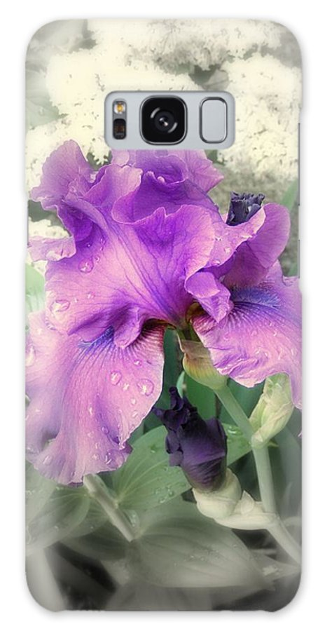 Iris Galaxy S8 Case featuring the photograph Purple Iris In Focal Black And White by Margie Avellino