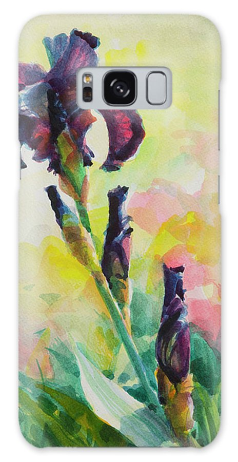 Flower Galaxy S8 Case featuring the painting Purple Iris by Steve Henderson