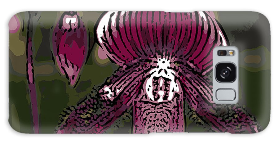 Orchid Galaxy S8 Case featuring the photograph Purple Orchid Woodcut by Ann Tracy