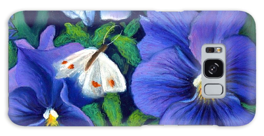 Pansy Galaxy Case featuring the painting Purple Pansies And White Moth by Minaz Jantz