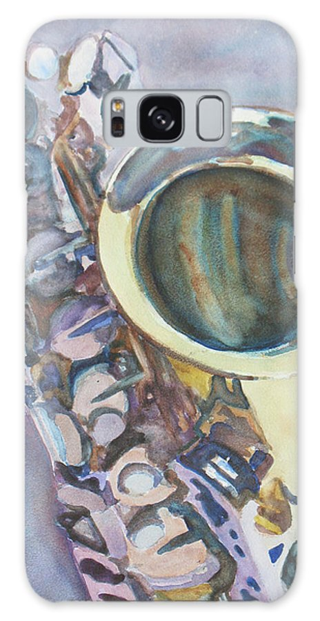 Sax Galaxy S8 Case featuring the painting Purple Sax by Jenny Armitage