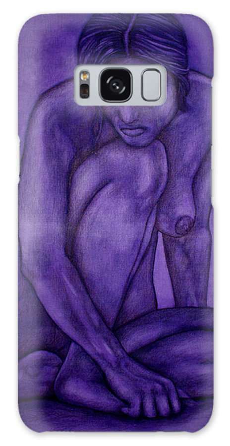 Nude Women Galaxy S8 Case featuring the painting Purple by Thomas Valentine