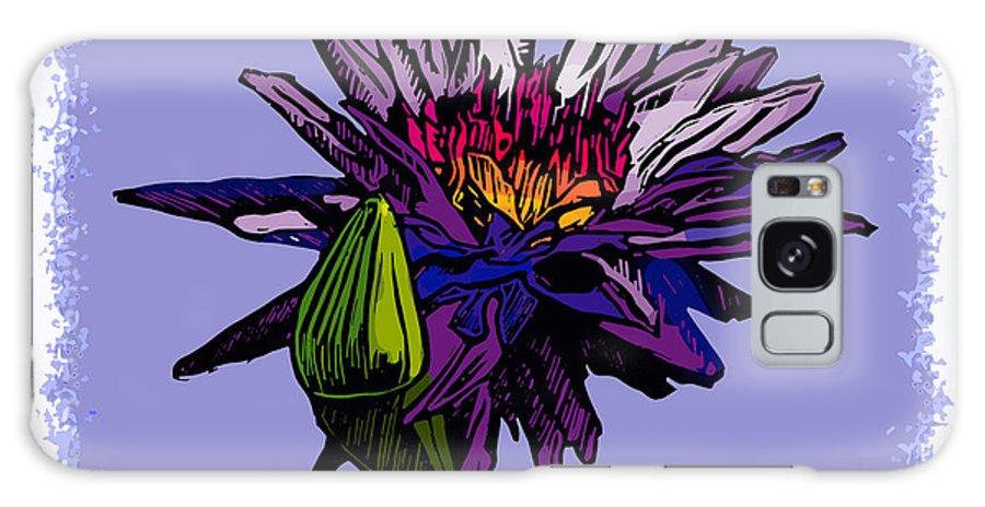 Water Lily Galaxy S8 Case featuring the drawing Purple Water Lily by John Lautermilch