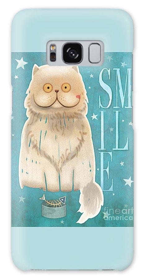 Cat Galaxy S8 Case featuring the painting Purr, Smile Cat by Tracy Herrmann