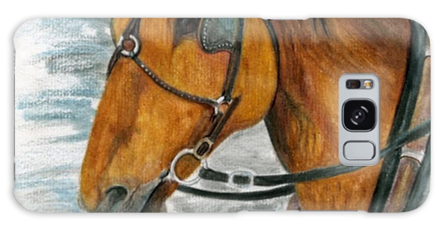 Horse Galaxy Case featuring the painting Putting In His Time by Mary Tuomi