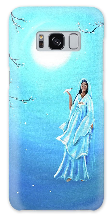 Quan Yin Galaxy S8 Case featuring the painting Quan Yin In Teal Moonlight by Laura Iverson