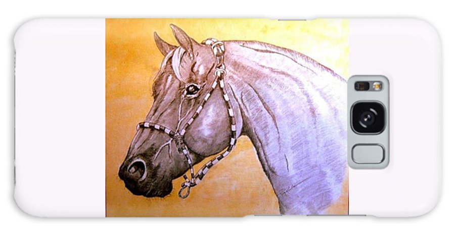 Horses Galaxy S8 Case featuring the drawing Quarter Horse W/ Rope Halter by Ray Krebs