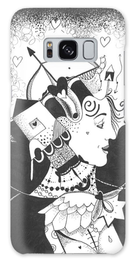 Dark Humor Galaxy S8 Case featuring the drawing Queen Of Hearts Aka If She Only Had A Heart by Helena Tiainen