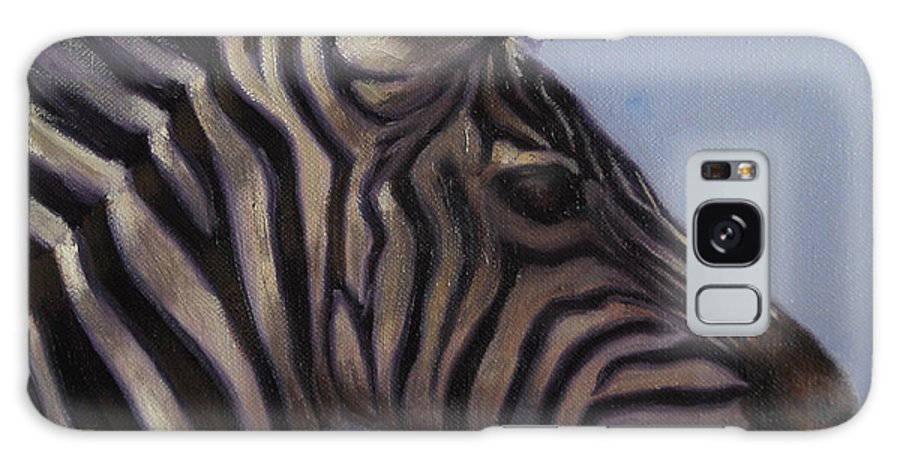 Zebra Galaxy Case featuring the painting Quiet Profile by Greg Neal