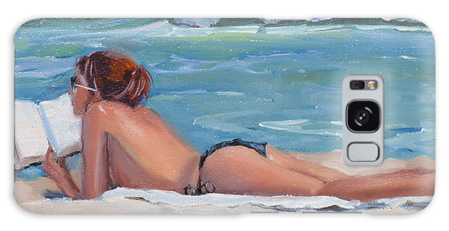 Topless Sumbather Galaxy Case featuring the painting Quiet Time by Laura Lee Zanghetti