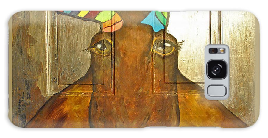 Quigley Galaxy S8 Case featuring the painting Quigley The Rustic Colorful Moose by Jost Houk