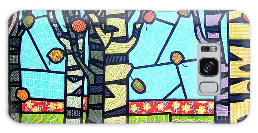 Birch Trees Galaxy Case featuring the painting Quilted Birch Garden by Jim Harris