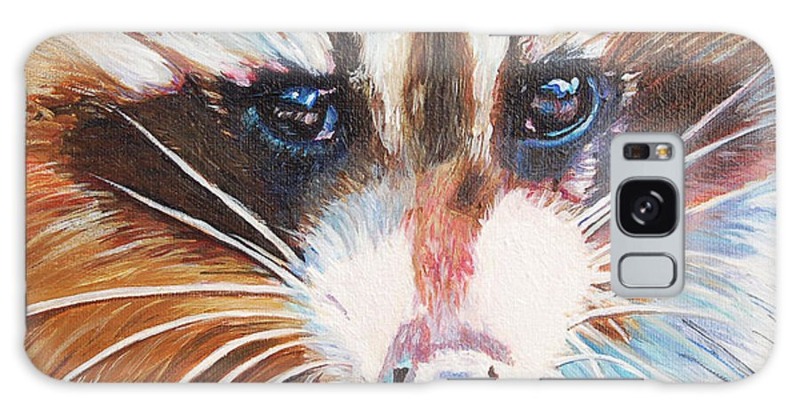 Wild Life Animal Portrait Galaxy Case featuring the painting Raccoon by Henny Dagenais