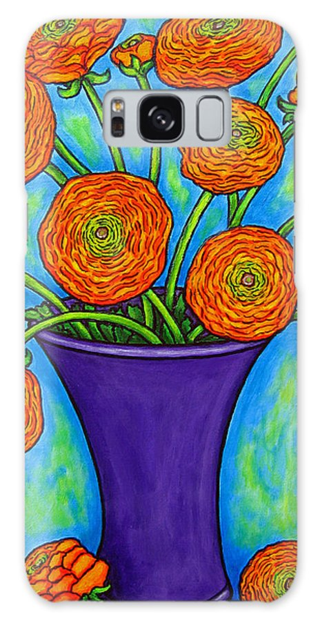 Green Galaxy S8 Case featuring the painting Radiant Ranunculus by Lisa Lorenz