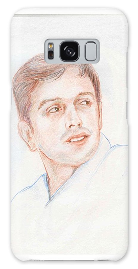 Cricketer Galaxy S8 Case featuring the drawing Rahul Dravid Indian Cricketer by Asha Sudhaker Shenoy